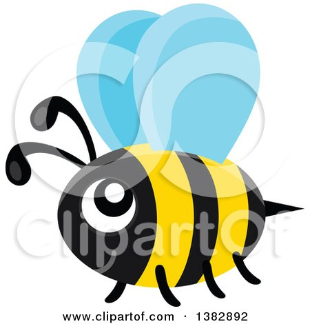 Clipart of a Flying Happy Bee - Royalty Free Vector Illustration by visekart