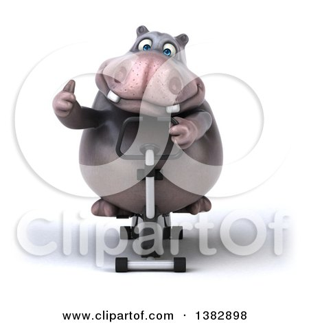 Clipart of a 3d Henry Hippo Character Working out on a Spin Bike, on a White Background - Royalty Free Illustration by Julos