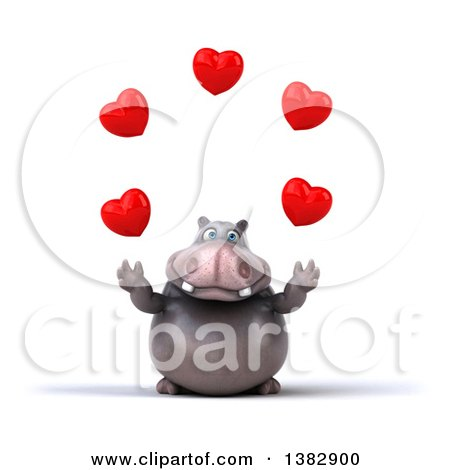 Clipart of a 3d Henry Hippo Character Juggling Hearts, on a White Background - Royalty Free Illustration by Julos