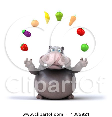 Clipart of a 3d Henry Hippo Character Juggling Produce, on a White Background - Royalty Free Illustration by Julos