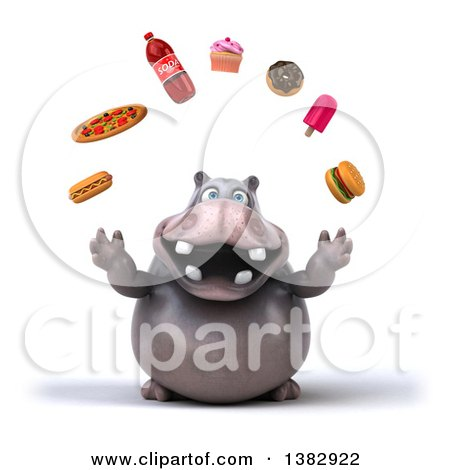 Clipart of a 3d Henry Hippo Character Juggling Junk Food, on a White Background - Royalty Free Illustration by Julos
