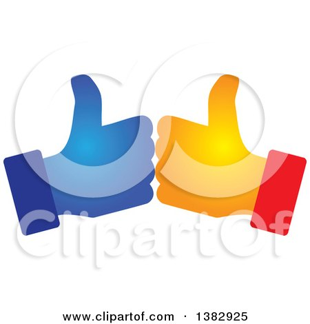 Clipart of Gradient Hands Giving Thumbs up - Royalty Free Vector Illustration by ColorMagic