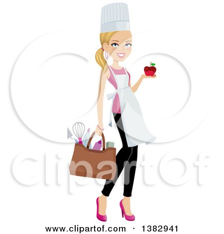 Clipart of a Blond Caucasian Chef Woman Carrying a Bag of Utensils and Holding a Chocolate Dipped Apple in One Hand - Royalty Free Vector Illustration by Monica