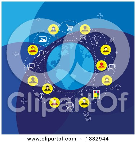 Clipart of a Social Network Globe with Business People and Icons on Blue - Royalty Free Vector Illustration by ColorMagic