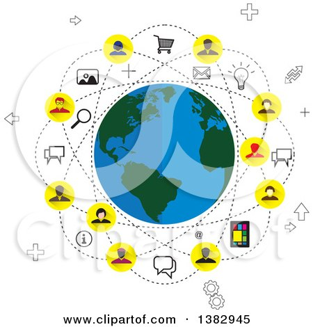 Clipart of a Social Network Globe with Business People and Icons - Royalty Free Vector Illustration by ColorMagic