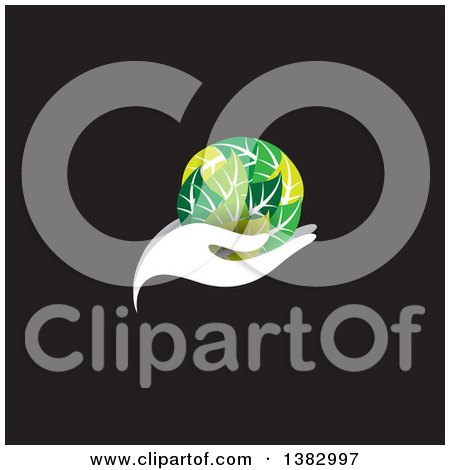 Clipart of a White Hand Holding a Globe of Green Leaves on Black - Royalty Free Vector Illustration by ColorMagic