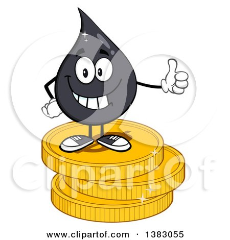 Clipart of a Cartoon Oil Drop Mascot Giving a Thumb up and Standing on Coins - Royalty Free Vector Illustration by Hit Toon