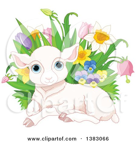 Clipart of a Cute Pink Easter Sheep Lamb Resting by with Spring Flowers - Royalty Free Vector Illustration by Pushkin