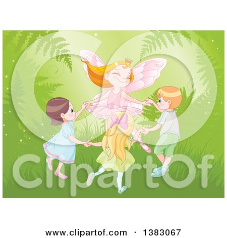 Clipart of a Happy Strawberry Blond Caucasian Fairy Princess Dancing with Children in the Forest - Royalty Free Vector Illustration by Pushkin