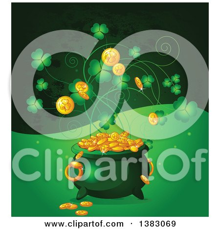 Clipart of a Leprechauns Pot of Gold with Shamrocks over Green Waves - Royalty Free Vector Illustration by Pushkin