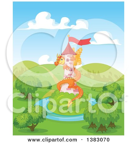 Clipart of a Cute Orange Fairy Tale Dragon Guarding a Tower in a Landscape - Royalty Free Vector Illustration by Pushkin