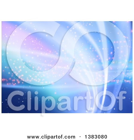 Clipart of a Background of Abstract Blue and Purple Waves - Royalty Free Vector Illustration by dero