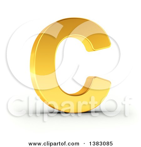 Clipart of a 3d Golden Capital Letter C, on a Shaded White Background, With Clipping Path - Royalty Free Illustration by stockillustrations