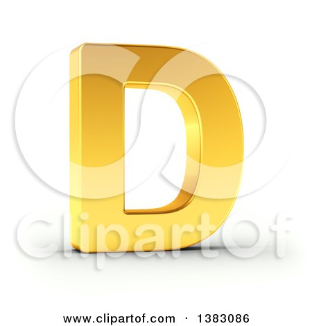 Clipart of a 3d Golden Capital Letter D, on a Shaded White Background, With Clipping Path - Royalty Free Illustration by stockillustrations
