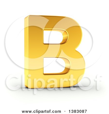 Clipart of a 3d Golden Capital Letter B, on a Shaded White Background, With Clipping Path - Royalty Free Illustration by stockillustrations