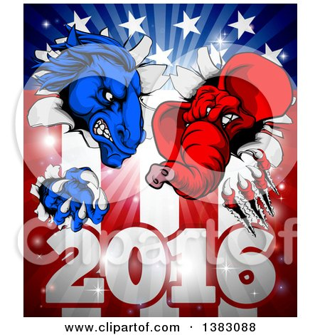 Clipart of a Political Aggressive Democratic Donkey or Horse and Republican Elephant Clawing Through an American Flag over 2016 - Royalty Free Vector Illustration by AtStockIllustration