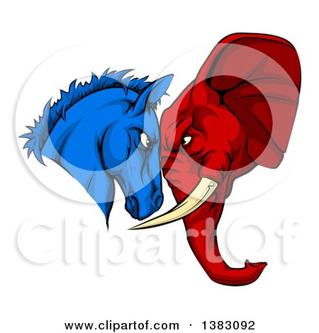 Political Aggressive Democratic Donkey or Horse and Republican Elephant Butting Heads Posters, Art Prints