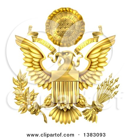 Clipart of a 3d Gold Great Seal of the United States with a Bald Eagle Holding an Olive Branch and Arrows, an American Flag Body and E Pluribus Unum Scroll and Stars over His Head - Royalty Free Vector Illustration by AtStockIllustration