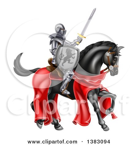Clipart of a 3d Full Armored Medieval Knight on a Black Horse, Holding up a Sword and Shield - Royalty Free Vector Illustration by AtStockIllustration