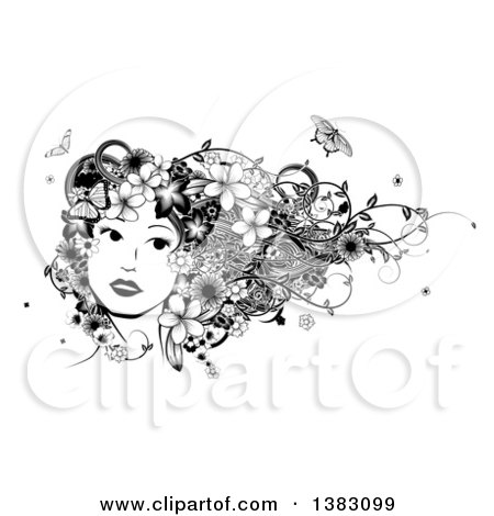 Clipart of a Black and White Womans Face with Butterflies, Flowers and Vines in Her Hair - Royalty Free Vector Illustration by AtStockIllustration
