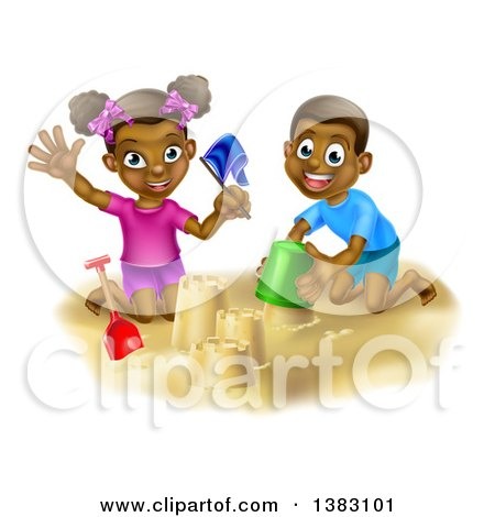 Clipart of a Happy Black Boy and Girl Playing and Building a Sand Castle on a Beach - Royalty Free Vector Illustration by AtStockIllustration