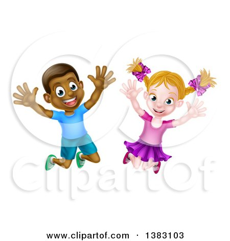Clipart of a Happy and Excited Black Boy and White Girl Jumping - Royalty Free Vector Illustration by AtStockIllustration