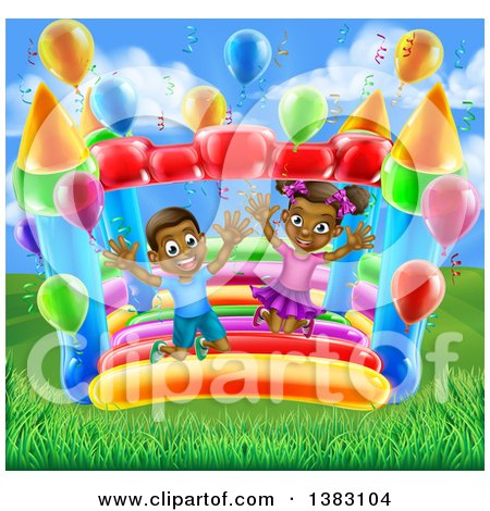 Clipart of a Cartoon Happy Black Boy and Girl Jumping on a Bouncy House Castle at a Party on a Sunny Day - Royalty Free Vector Illustration by AtStockIllustration