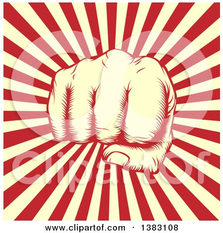 Clipart of a Retro Woodcut or Engraved Revolutionary Fist over Beige and Red Rays - Royalty Free Vector Illustration by AtStockIllustration