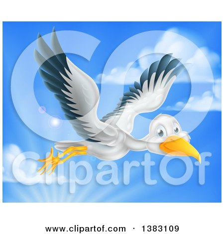 Clipart of a Stork Bird in Flight Against Sky - Royalty Free Vector Illustration by AtStockIllustration