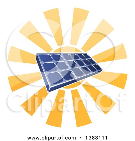Clipart of a Sun Shining Behind a Blue Solar Panel Photovoltaics Cell - Royalty Free Vector Illustration by AtStockIllustration