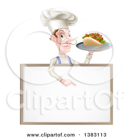 Clipart of a Cartoon Caucasian Male Chef with a Curling Mustache, Holding a Kebab Sandwich on a Tray and Pointing down at a Blank Menu Sign - Royalty Free Vector Illustration by AtStockIllustration