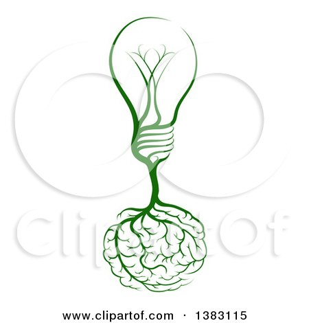 Clipart of a Green Light Bulb Tree with Roots in the Shape of a Brain - Royalty Free Vector Illustration by AtStockIllustration