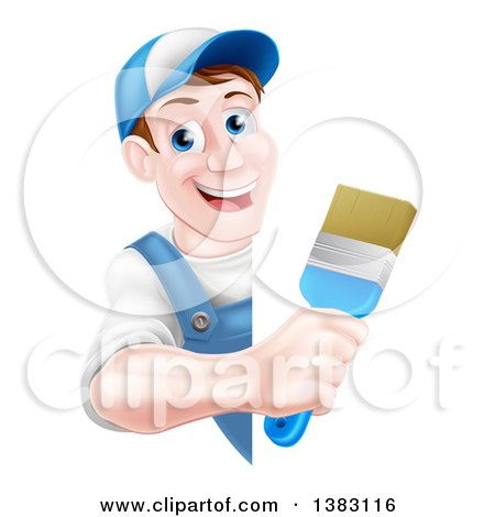 Happy Middle Aged Brunette Caucasian Male House Painter Holding a Brush Around a Sign Posters, Art Prints