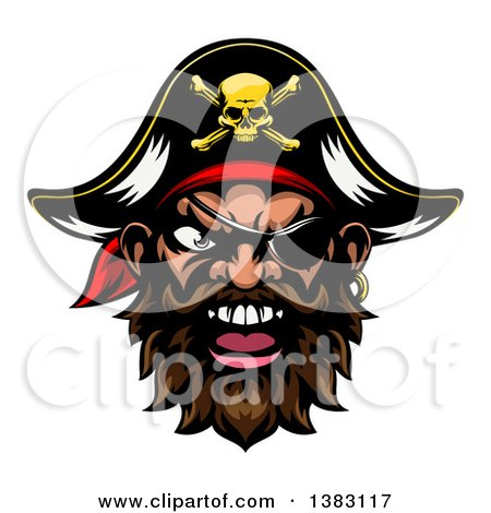 Clipart of a Pirate Mascot Face with an Eye Patch and Captain Hat - Royalty Free Vector Illustration by AtStockIllustration