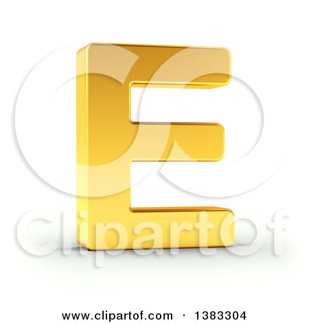 Clipart of a 3d Golden Capital Letter E, on a Shaded White Background, With Clipping Path - Royalty Free Illustration by stockillustrations