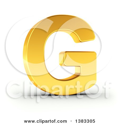 Clipart of a 3d Golden Capital Letter G, on a Shaded White Background, With Clipping Path - Royalty Free Illustration by stockillustrations