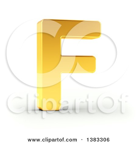Clipart of a 3d Golden Capital Letter F, on a Shaded White Background, With Clipping Path - Royalty Free Illustration by stockillustrations