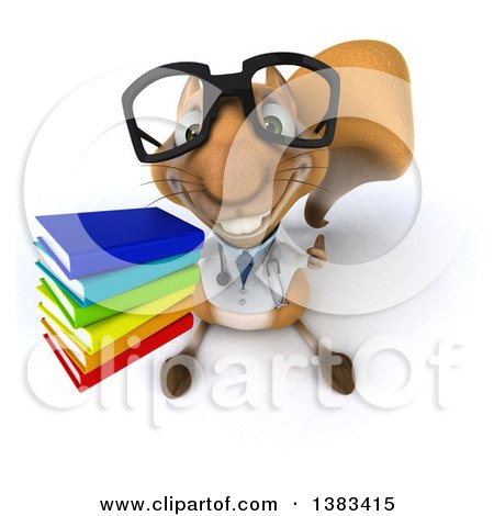 Clipart of a 3d Bespectacled Doctor or Veterinarian Squirrel Holding a Stack of Books, on a White Background - Royalty Free Illustration by Julos
