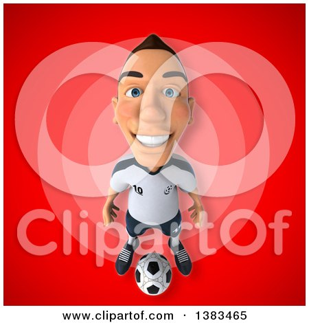 Clipart of a 3d White German Soccer Player, on a Red Background - Royalty Free Illustration by Julos
