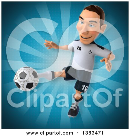 Clipart of a 3d White German Soccer Player, on a Blue Background - Royalty Free Illustration by Julos