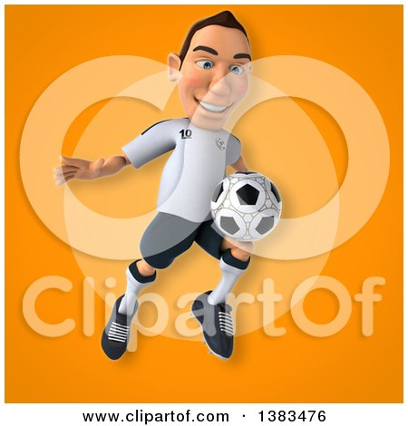 Clipart of a 3d White German Soccer Player, on an Orange Background - Royalty Free Illustration by Julos
