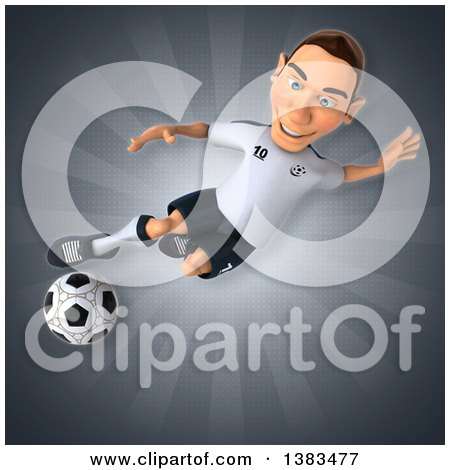 Clipart of a 3d White German Soccer Player, on a Gray Background - Royalty Free Illustration by Julos