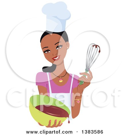 Clipart of a Pretty Black Baker Woman with Long Hair in a Pony Tail, Holding up a Whisk and a Bowl of Cake Mix - Royalty Free Vector Illustration by Monica