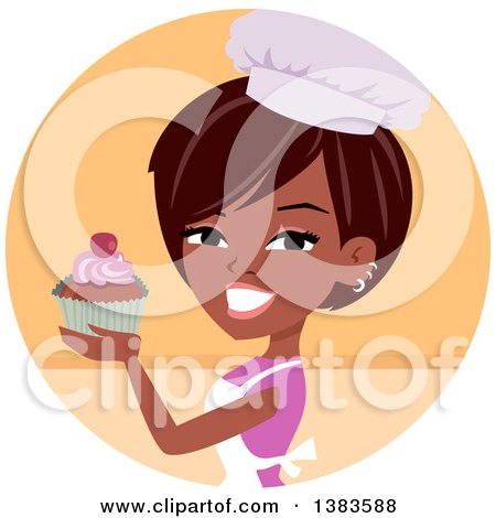 Clipart Of A Pretty Black Baker Woman Holding Up A Cupcake Royalty Free Vector Illustration