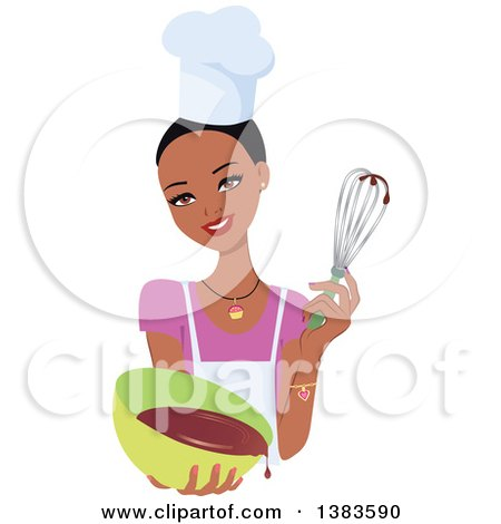 Clipart of a Pretty Black Baker Woman with Short Hair, Holding up a Whisk and a Bowl of Cake Mix - Royalty Free Vector Illustration by Monica