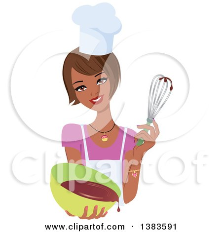 Clipart of a Pretty Black Baker Woman with a Bob Haircut, Holding up a Whisk and a Bowl of Cake Mix - Royalty Free Vector Illustration by Monica