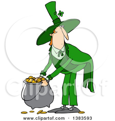 Clipart of a Cartoon St Patricks Day Leprechaun Picking up a Pot of Gold - Royalty Free Vector Illustration by djart