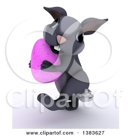 Clipart of a 3d Cute Gray Bunny Rabbit Carrying an Easter Egg, on a White Background - Royalty Free Illustration by KJ Pargeter
