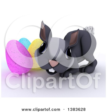 Clipart of a 3d Cute Gray Bunny Rabbit with Easter Eggs, on a White Background - Royalty Free Illustration by KJ Pargeter