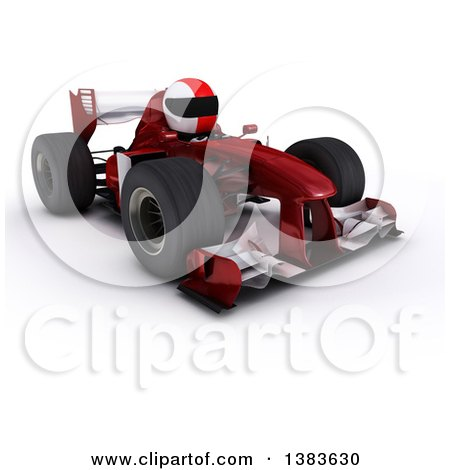 Clipart of a 3d White Man Driver in a Forumula One Race Car, on a White Background - Royalty Free Illustration by KJ Pargeter